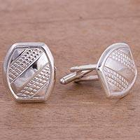 Sterling silver cufflinks, 'Stylish Stripes' - Patterned Sterling Silver Cufflinks from Peru