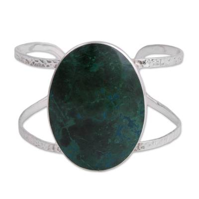 Chrysocolla and Silver Pendant Bracelet from Peru