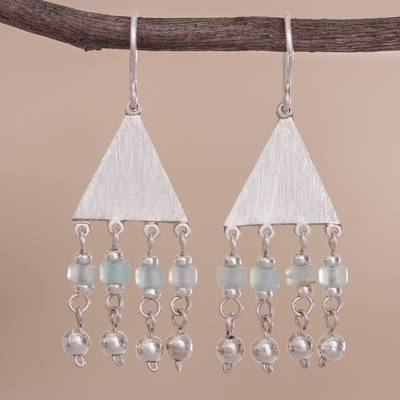 Opal dangle earrings, 'Triangle Rain' - Triangular Opal and Silver Dangle Earrings from Peru
