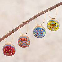 Ceramic ornaments, 'Inca Morning' (set of 4) - Four Circular Musical Ceramic Ornaments from Peru