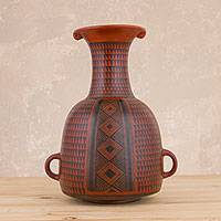 Ceramic decorative vase, 'Wiracocha Festivity' - Red and Black Ceramic Decorative Vase Handcrafted in Peru