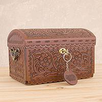 Wood jewelry chest, 'Colonial Heritage' - Handcrafted Mohena Wood and Leather Jewelry Box