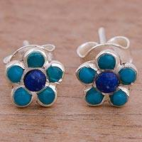 Lapis lazuli and chrysocolla stud earrings, 'Floral Daydream' - Lapis Lazuli and Chrysocolla Stud Earrings from Peru