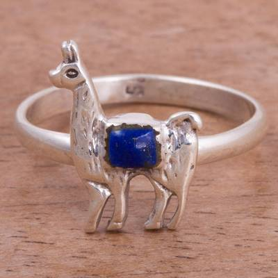 Lapis Lazuli and Silver Llama Cocktail Ring from Peru