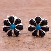 Onyx and chrysocolla stud earrings,
