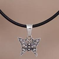 Silver pendant necklace, 'Paradise Butterfly' - Silver Butterfly Pendant Necklace from Peru