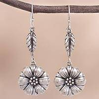 Sterling silver dangle earrings, 'Flower of the Andes' - Circular Floral Sterling Silver Dangle Earrings from Peru