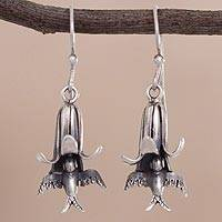 Sterling silver dangle earrings, 'Hummingbirds of the Andes' - Floral and Bird-Themed Sterling Silver Earrings from Peru