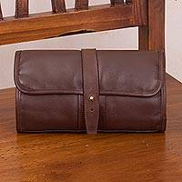 Leather toiletry bag, 'Subtle Elegance in Espresso' - Handcrafted Leather Toiletry Bag in Espresso from Peru