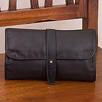 Leather toiletry bag, 'Subtle Elegance in Black' - Handcrafted Leather Toiletry Bag in Black from Peru