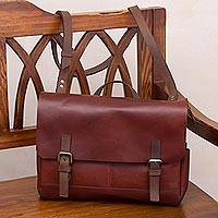 Leather messenger bag, 'Vintage Traveler in Mahogany' - Handcrafted Leather Messenger Bag in Mahogany from Peru