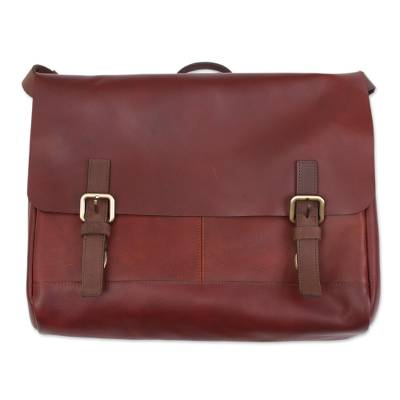 Handcrafted Leather Messenger Bag in Mahogany from Peru