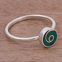 Chrysocolla cocktail ring, 'Swirl Chic' - Swirl Motif Chrysocolla Cocktail Ring from Peru
