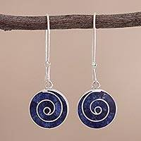 Sodalite dangle earrings, 'Blue Whirlwind' - Spiral Motif Sodalite and Silver Dangle Earrings from Peru