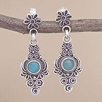 Amazonite dangle earrings, 'Eternal Magnificence' - Swirl Motif Amazonite Dangle Earrings from Peru