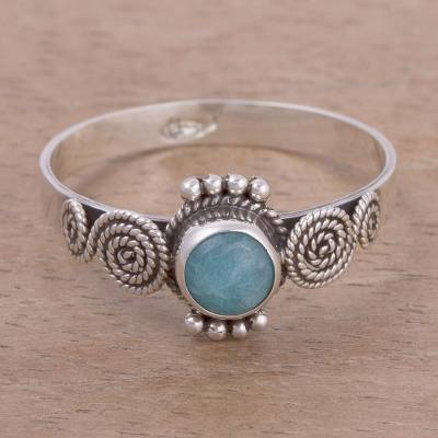 silver rings vintage - Spiral Motif Amazonite Solitaire Ring from Peru