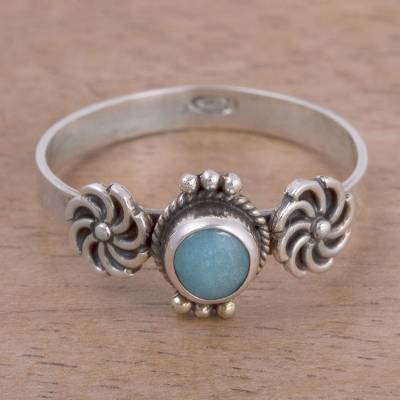 original silver rings online subtitrat - Amazonite and Sterling Silver Solitaire Ring from Peru