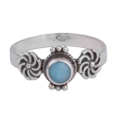 Amazonite and Sterling Silver Solitaire Ring from Peru