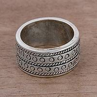 Men's sterling silver band ring, 'Masculine Style' - Men's Sterling Silver Band Ring from Peru