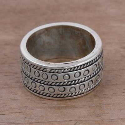beautiful sterling silver necklaces - Men's Sterling Silver Band Ring from Peru
