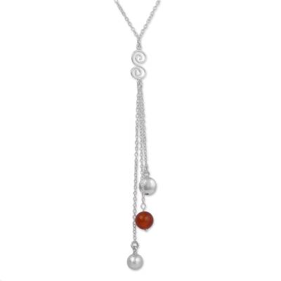 Carnelian and Sterling Silver Y Necklace from Peru