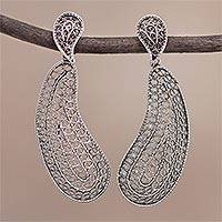 Sterling silver filigree dangle earrings, 'Glistening Paisleys' - Sterling Silver Paisley Filigree Dangle Earrings from Peru