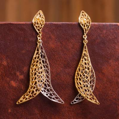 Gold plated and sterling silver filigree dangle earrings, 'Marvelous Boomerangs' - Gold Plated Silver and Sterling Silver Earrings from Peru