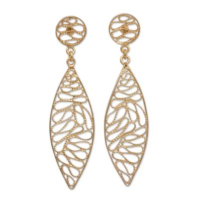 Gold Plated Silver Filigree Dangle Earrings from Peru