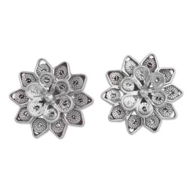 Sterling Silver Filigree Button Earrings from Peru