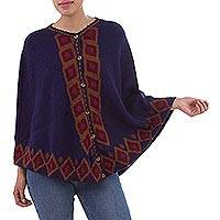 100% Alpaca cape, 'Climbing Diamonds' - Blue 100% Alpaca Cape with Burgundy Diamond Motifs