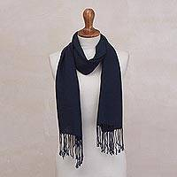 Baby alpaca blend scarf, 'Blue Night' - Navy Blue Baby Alpaca and Acrylic Hand Woven Scarf from Peru