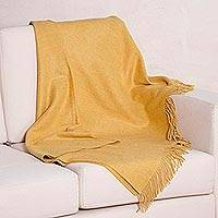 100% baby alpaca throw blanket, 'Amber Comfort' - Amber 100% Baby Alpaca Wool Fringed Throw Blanket