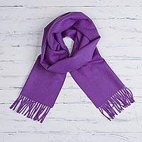 100% baby alpaca scarf, 'Imperial Embrace' - 100% Baby Alpaca Imperial Purple Scarf