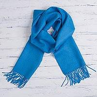 Featured review for 100% baby alpaca scarf, Azure Embrace