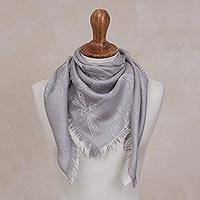Featured review for Baby alpaca and silk blend reversible scarf, Dragonfly in Pearl Grey