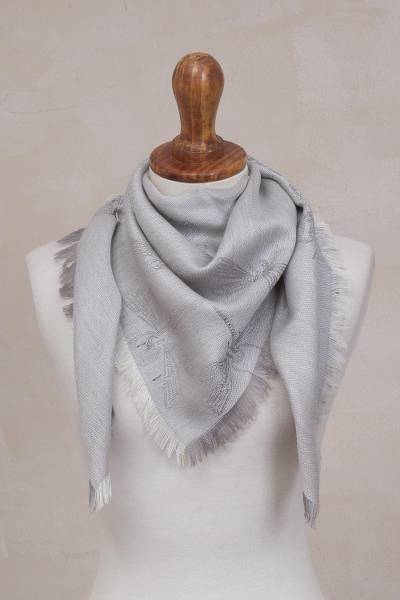 Baby alpaca and silk blend reversible scarf, 'Dragonfly in Pearl Grey' - Baby Alpaca and Silk Blend Grey Dragonfly Reversible Scarf