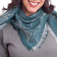 Baby alpaca and silk blend scarf, 'Dragonfly in Teal' - Baby Alpaca and Silk Blend Teal Dragonfly Reversible Scarf