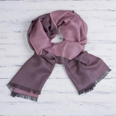 Baby alpaca and silk blend scarf, 'Options in Pink' - Baby Alpaca and Silk Blend Pink and Grey Reversible Scarf