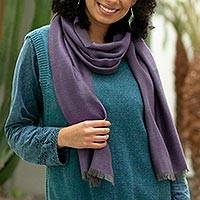 Baby alpaca and silk blend scarf, 'Options in Plum' - Baby Alpaca and Silk Blend Plum and Grey Reversible Scarf