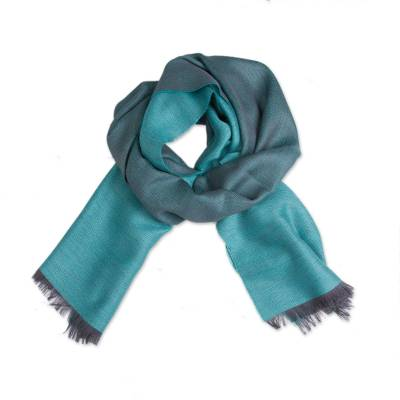 Baby alpaca and silk blend scarf, 'Options in Teal' - Baby Alpaca and Silk Blend Teal and Grey Reversible Scarf