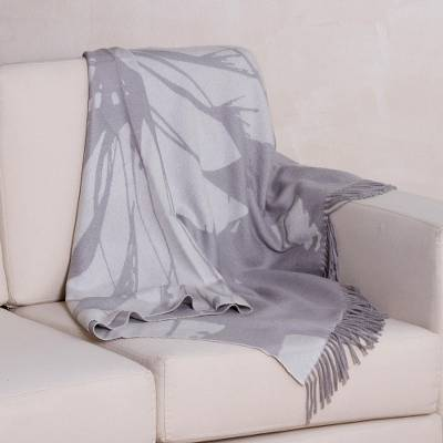 100% baby alpaca reversible throw blanket, 'Impact in Grey' - Grey 100% Baby Alpaca Wool Fringed Blanket
