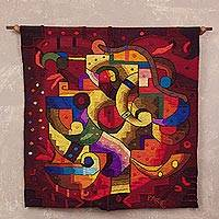 Alpaca blend tapestry, 'Andean Evening' - Handwoven Alpaca Blend Tapestry in Red from Peru
