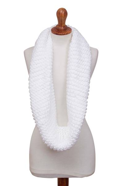 Knit infinity scarf, 'Snow White Queen' - Snow White Hand-Crocheted Infinity Scarf