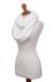 Knit infinity scarf, 'Snow White Queen' - Snow White Hand-Crocheted Infinity Scarf (image 2b) thumbail