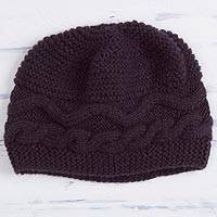 Alpaca blend hat, 'Aubergine Waves' - Hand-Crocheted Alpaca Blend Hat in Aubergine from Peru