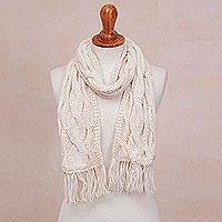 Hand-knit 100% alpaca scarf, 'White Andes' - Hand-Knit 100% Alpaca Wrap Scarf in Snow White from Peru