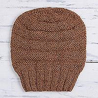 Hand-knit 100% alpca hat,