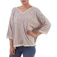 100% pima cotton knit top, 'Hypnotic Lines' - Peruvian Ivory and Lilac Striped 100% Pima Cotton Knit Top