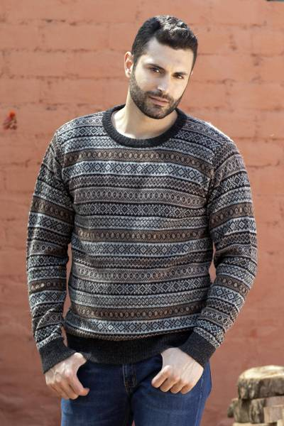 Men's 100% alpaca sweater, 'Granite' - Men's Patterned Grey and Brown 100% Alpaca Pullover Sweater