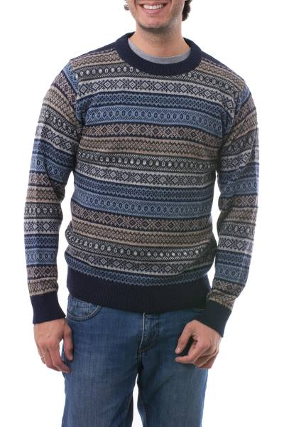 Men's 100% alpaca sweater, 'Monument' - Men's Patterned Grey and Brown 100% Alpaca Pullover Sweater